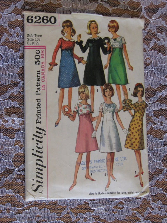 Vintage Simplicity Sewing Pattern-1965 | Etsy