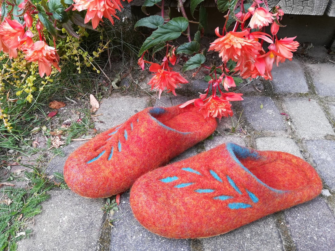 Naranja/turquesa mujeres resbalan en zapatillas, zapatillas de lana de fieltro, suelas de goma o látex