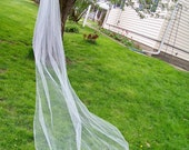 Custom Long Cathedral Length Wedding Veil Made to Order 1 Tier Pencil Edge