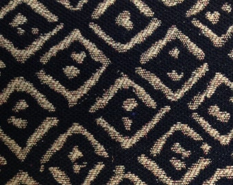 """Upholstery - Cotton Chenille Blend Fabric 1/2 yd (18"""") x 54"""" Black and Tan Diamond Pattern"""
