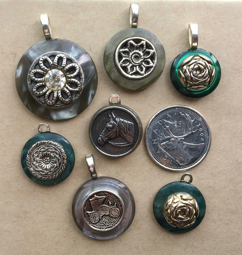 Antique Buttons Jewelry Making Vintage Buttons Button Pendant Lot Button Charm Button Pendant 7 Pcs Vintage Button Pendants