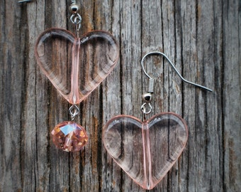Pink Acrylic Heart Earrings