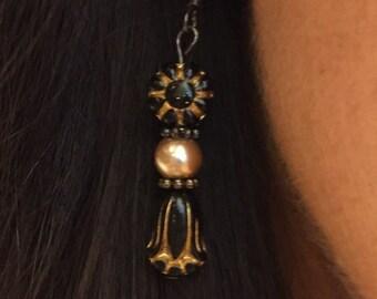 Black Czech Beaded Earrings
