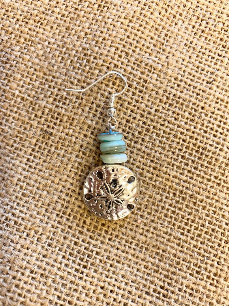 Amazonite Sand Dollar Earrings