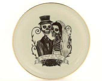 Personalized Spring Wedding Gift Flowers, Dinner Plate Vintage Porcelain, Valentines Day Wedding Plate, Skeleton Skull, Name Date, Halloween