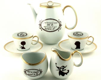Gift for Couple Espresso Set for 2, Nightmare Before Christmas, Personalized His Hers, Simply Meant to be, Porcelain, Jack Skellington Sally