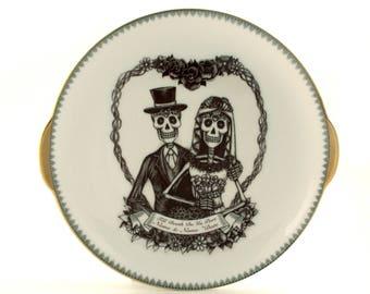 Personalized Spring Wedding Platter Table Gift, Porcelain Cake Platter, Till Death Do Us Part, Skeleton Bride Groom Flower Heart, Names Date