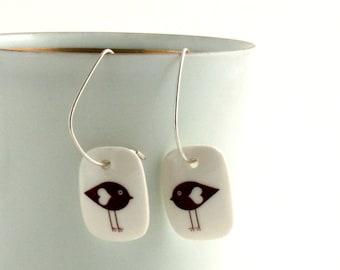 Lovebirds Earrings, Handmade Porcelain Jewelry, Birds Heart, Valentines Day Gift, 925 Sterling Silver Hoops, Spring Gift for Her, for Mom
