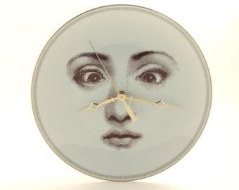 Face Art Porcelain Big Wall Clock, China Wall Clock Golden Trim, Crossed Eyes, Lina Cavalieri, Vintage Porcelain Plate, Kitchen Wall Decor