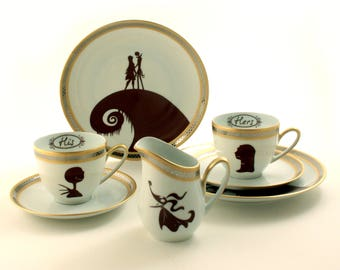 Personalized His Hers Espresso Gift Set for 2 Nightmare Before Christmas, Vintage Porcelain Cups Plates, Sally Jack Skellington, Anniversary