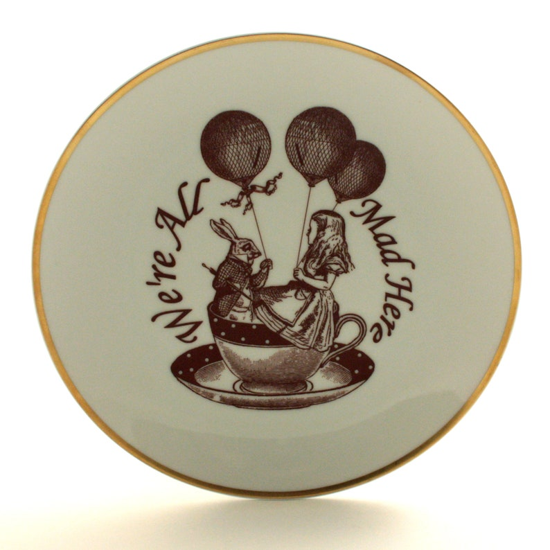 2 Vintage Porcelain Plates Home Decor Christmas Gift Disney Nursery Disney Movie SALE Recycled Alice in Wonderland We Are All Mad Here