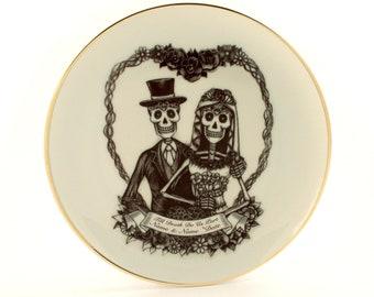 Personalized Spring Wedding Gift Bride Groom Couple Heart Branch, Halloween Wedding, Skeleton Skull Art, Vintage Porcelain Plate, Names Date