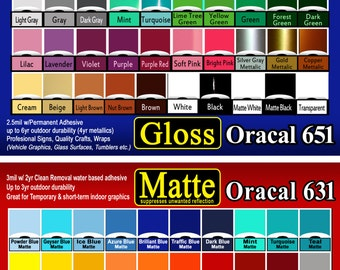 """40 sheets 12""""x24""""  GLOSS or MATTE adhesive backed vinyl Oracal (651 Gloss or 631 Matte) Sign & Craft Cutters"""