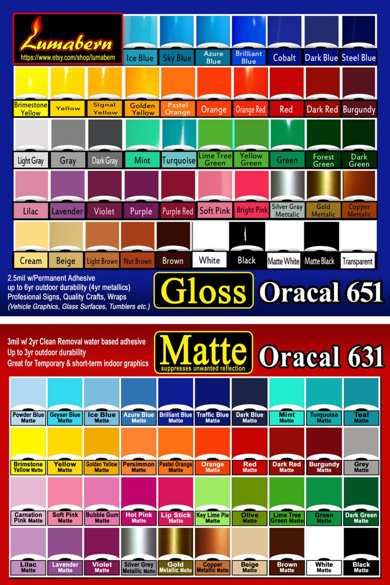 """3 rolls 24/"""" Oracal 651 Gloss adhesive backed vinyl Sign /& Craft Outdoor Quality"""