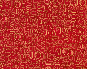 Words Red Christmas w/Metallic Quilting and sewing fabric (sold by the half yard) From Robert Kaufman Winter's Grandeur :