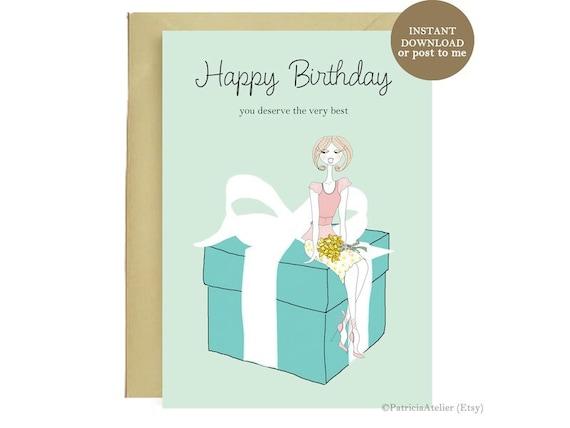 Happy Birthday Tiffany Card Illustrated Birthday Card Etsy