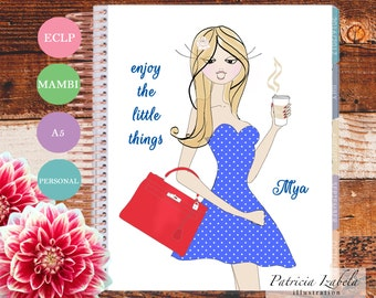 Coffee Erin Condren Planner Cover Illustrated Planner Cover Happy Planner Mambi Planner Illustration Polka Dot Dreams Fashion Illustration