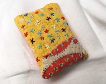 Little yellow and watermelon lavender sachet with embroidery
