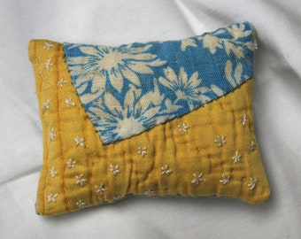 Pretty yellow and blue lavender sachet with hand embroidery