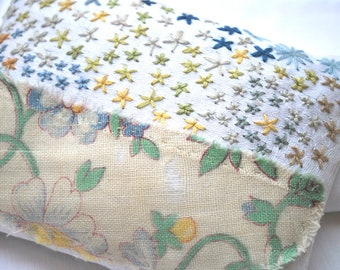 Antique cotton fragrant lavender sachet in yellows, blues and greens