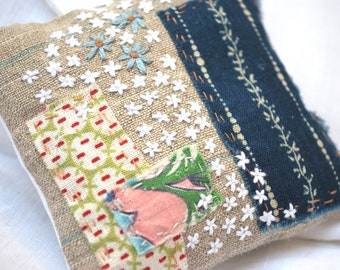 Lavender sachet, handmade using antique calico and embroidery