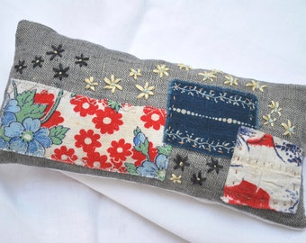 Antique cotton Hand-embroidered lavender sachet