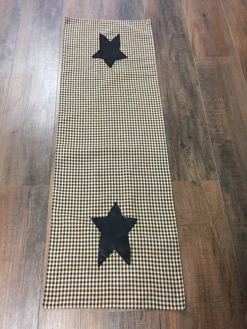 Handmade Black Star on Black Homespun Material Table Runner