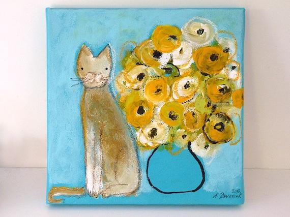 Guten Morgen 20x20 Cm Malerei Katze Blumenstrauß Bild Blumen Vase Geschenkidee Mitbringsel Katzenmalerei Klein Geschenk