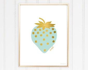 Printable Sweet Strawberry Art Print - Mint & Gold - Digital Download