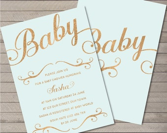 Printable Party Invitation PDF - Rose Gold Baby