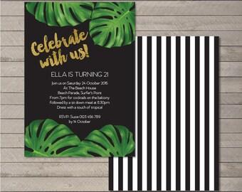 Printable Birthday Party Celebrate Invitation PDF - Monstera Stripe