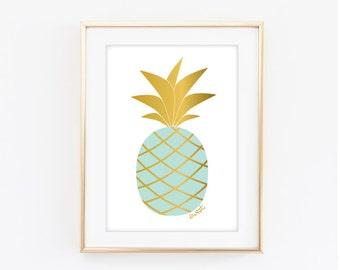Printable Sweet Pineapple Art Print - Mint -  Digital Download