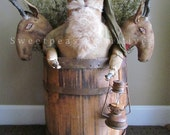 NEW 2015 Primitive Christmas Folk Art Early Style Barrel Santa Doll and Reindeer Heads E Pattern Sweetpeas Primitives
