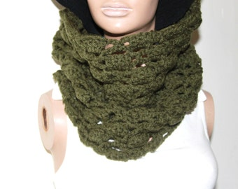 Khaki Hand Crocheted Cowl Neck Scarf, Chunky Cowl, Infinity Scarf
