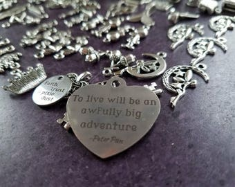 75 Peter Pan charms Exlusive Stainless Heart w quote Acorn Thimble Faith Trust Pixie Dust DIY Peter Pan Set Tinkerbell jewelry DIY 2M-104