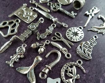 25 Peter Pan charms No Doubles Acorn Thimble Faith Trust Pixie Dust DIY Peter Pan Charm Set Tinkerbell jewelry DIY #2M90