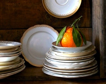 Not Your Grandma's Vintage Gold Rim Dessert Plates S/6