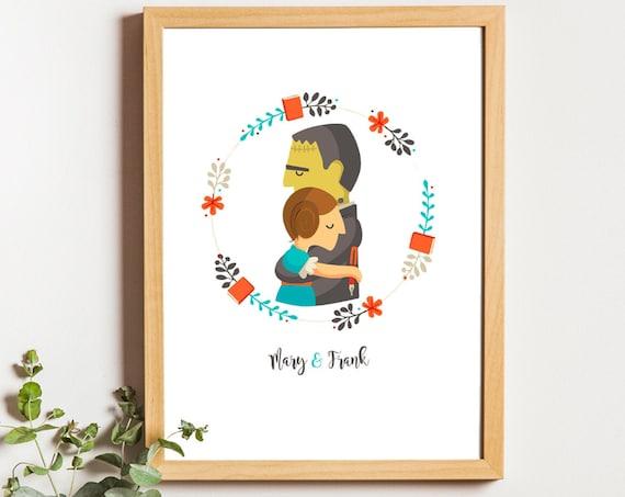 """Ilustración """" Mary & Frank """". Basada en la novela Frankenstein."""