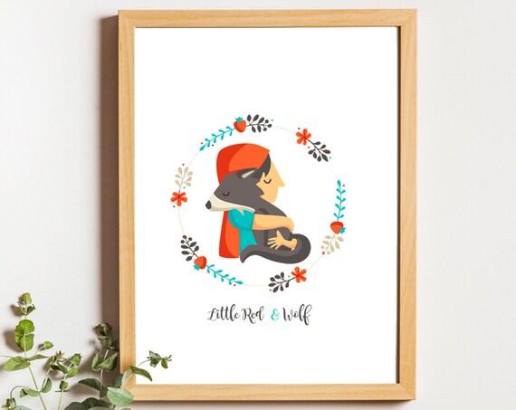 """Ilustración """" Caperucita & Lobo. Basado en Caperucita Roja."""