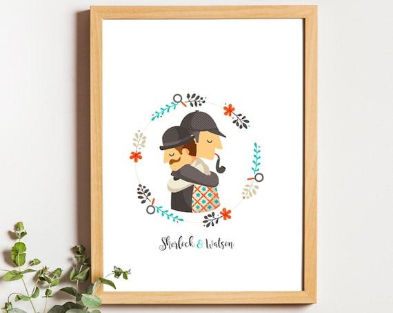 """Ilustración """" Sherlock y Watson. Basada en la obra Sherlock Holmes."""