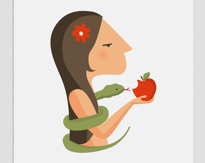 Illustration. Eve and a red apple.  Print A4. Wall art