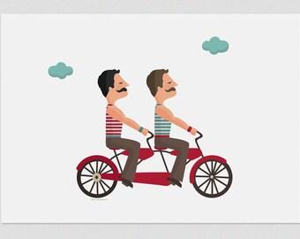 """Ilustración """"Tándem de amor y bigotes""""."""