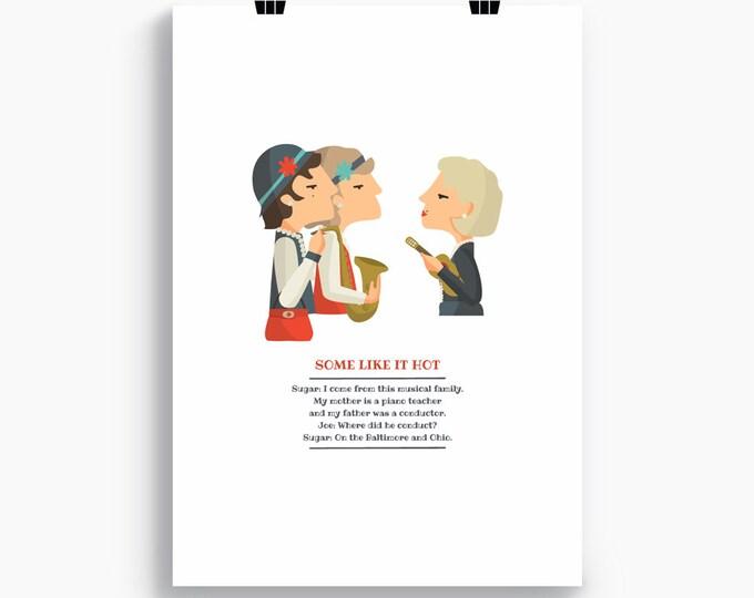 """Ilustración """"Con faldas y a lo loco"""". Basada en la película de Billy Wilder."""