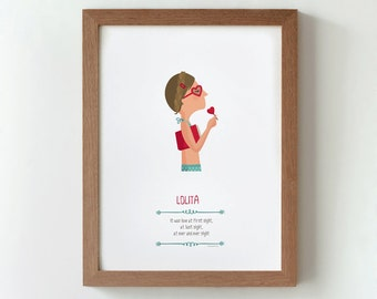 """Ilustración """"Lolita"""". Basada en la obra de Vladimir Nabokov."""