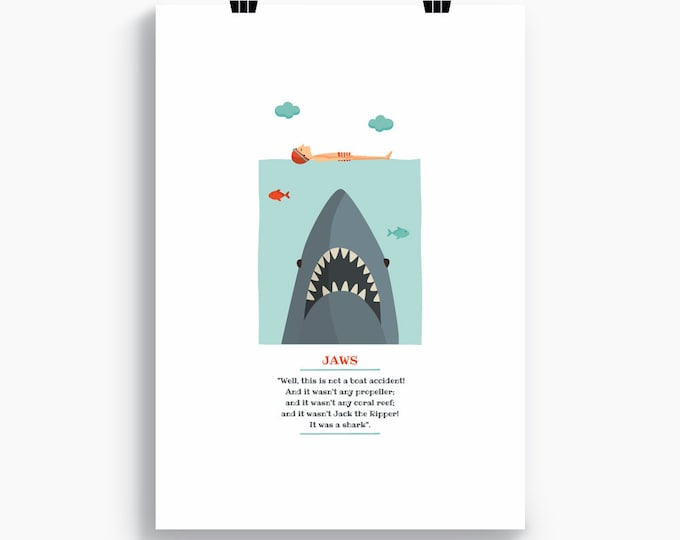 """Ilustración """"Tiburón"""". Basada en la película de Steven Spielberg."""
