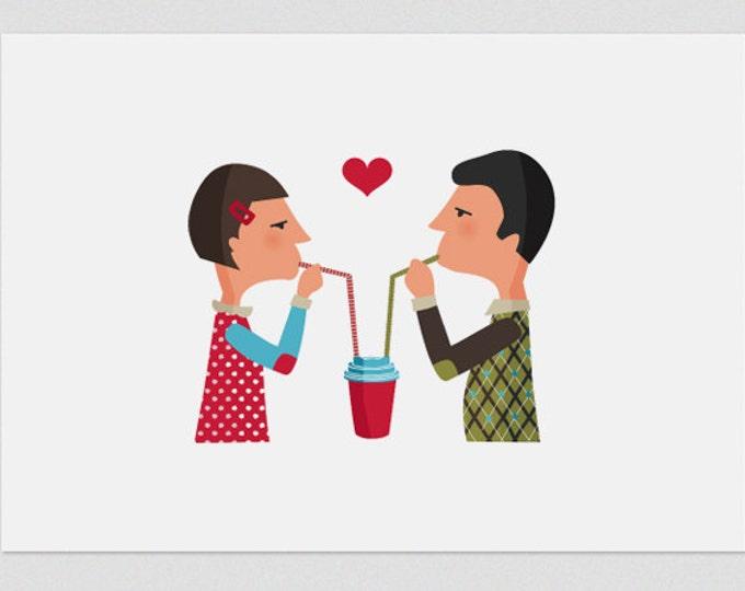 """Ilustración """" Los amantes del café """"."""