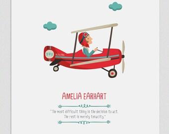 """Ilustración """"Amelia Earhart""""."""