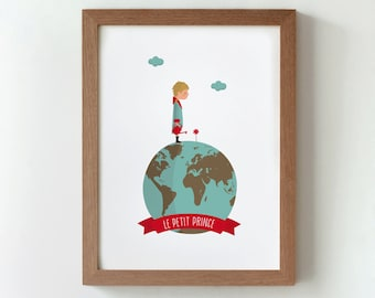 Illustration of  ' Le petit prince / The Little Prince'. Digital print to decorate your home. Personalized gift.