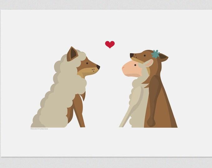 """Ilustración """" Lobo y cordero """"."""