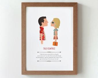 """Ilustración """"Amor a quemarropa"""". Basada en la película de Tony Scott."""